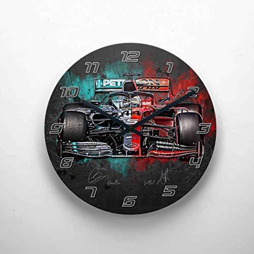 gasoline.gallery Wanduhr - Lewis Hamilton - Sebastian Vettel - Mercedes - Ferrari - 2019 29cm