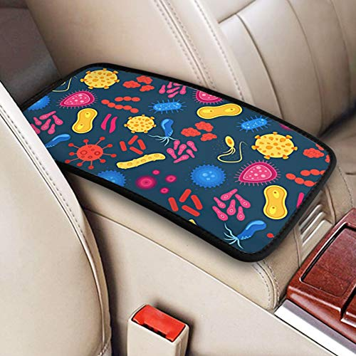 Funny Cell Under Microscope Car Center Console Armrest Cover Pad Arm Rest Cushion Pad Car Arm Seat Box Protector Auto Interior Decor Accessories Protective Case for Women Men
