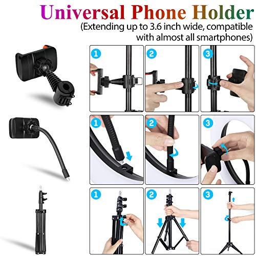 Ring Light with Tripod Stand and Phone Holder,Uhans Cell Phone Tripod with 10 Inch RGB LED Colors Circle Light for Makeup Photography Video Shooting TIK Tok Lights Compatible with Almost Smartphone