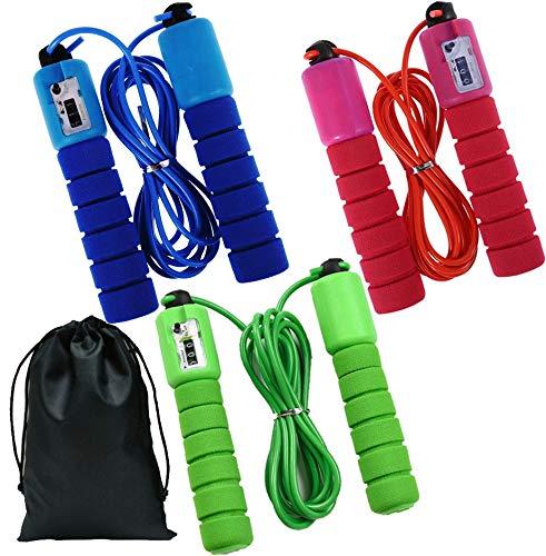 3 Stück Springseil für Fitness,Verstellbar Länge Kunststoff Jump Rope mit Zähler,Seilspringen für Kinder 6、8、10 Jahre alt ideal für Fitness Training/Spiele im Freien/Fett Brennen Übung(2.5m Länge)