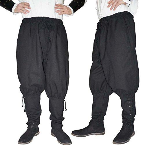 MAYLYNN Mittelalter Hose mit Taschen und Schnürung Wikinger Kelte, schwarz, Größe:L