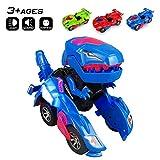 Odizli Transforming Dinosaur LED Car Toys for Kid Boys Halloween (Blue)