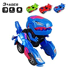 AUTOMATIC TRANSFORMATION: Dinosaur and Cars combined into one, automatically transforms into a dinosaur, Once the car shapes into a dinosaur, it makes a roaring sound. THE WORLD OF DINOSAURS: With lights and music, it makes the coolest roaring dino s...