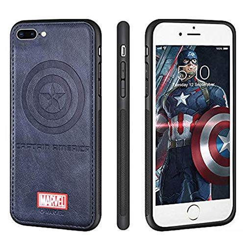 FASTER iPhone 8 Plus/iPhone 7 Plus Case Marvel Avengers Protective Cell Phone Cover Cases TPU PU Leather Case 3D Premium Scratch-Resistant(Blue Captain American)