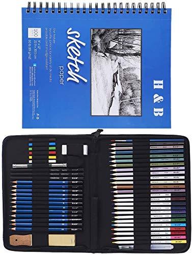 スケッチ鉛筆 51セット 鉛筆セット デッサン鉛筆 紙ペン 消しゴム 鉛筆ケース 紙ヤスリ 素描 美術 美術系学生 カッター図面 鉛筆削り 画材セット