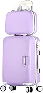 Song Luggage Spinner Luggage ABS Trolley Travel Lightweight Hardshell Suitcase - 20 Inch Purple Set