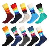 Bonangel Men's Fun Dress Socks - Colorful Funny Novelty Crazy Crew Socks Packs with Cool Argyle Pattern (10 Pairs-mix 6)