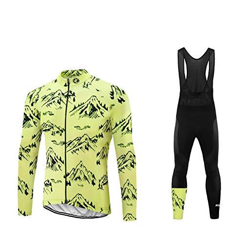 Uglyfrog Radtrikot Radfahren Kleidung Set Herren Set Schnell Trocken Langarm-Radfahren Jersey mit Hose fur Mountain Biking und Outdoor CXML07F