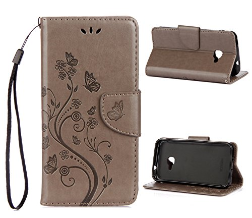 Sunrive Hülle Für Samsung Galaxy Xcover 4, Magnetisch Schaltfläche Ledertasche Schutzhülle Hülle Handyhülle Schalen Handy Tasche Lederhülle(Prägung grau s)+Gratis Universal Eingabestift
