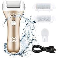 Lima para pies eléctrica, removedor de piel dura recargable por USB, callos para pedicura de pies con 3 rodillos y 2 velocidades, y 1 cepillo de limpieza (Oro)