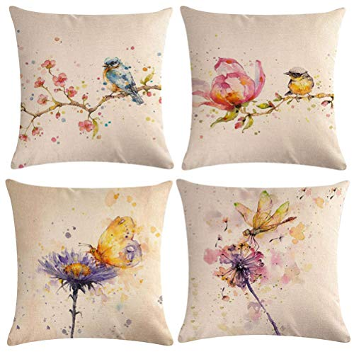 "Watercolor Painting Throw Pillow Covers Birds On The Tree With Spring Pink Flowers Butterfly Dragonfly Dandelion Pattern Pillow Covers Home Decorative Square Pillowcase 18""×18"",4Pack (Watercolor 4P)"