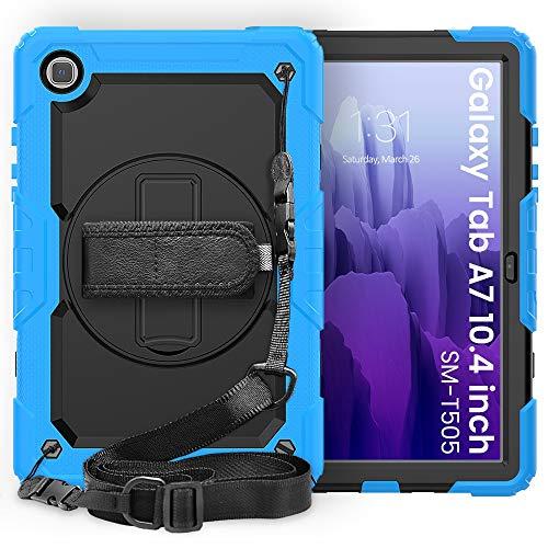 Tablet PC Tasche Schutzhülle für Samsung Galaxy Tab A7 10.4inch T500-T505 2020 Three-Layer Stoßfest, 360 Grad Schwenkständer und Handstrap und Schultergurt PC + Silikon Schutzhülle ( Color : SKE+BLUE )