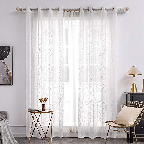MIULEE Sheer Vorhang Voile Blumen Stickerei Vorhänge mit Ösen transparent Gardine 2 Stücke Ösenvorhang Gaze paarig schals Fensterschal für Wohnzimmer Schlafzimmer 245 cm x 140 cm(H x B) 2er-Set