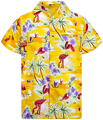 King Kameha Funky Hawaiihemd, Kurzarm, Flamingos, Gelb, 3XL