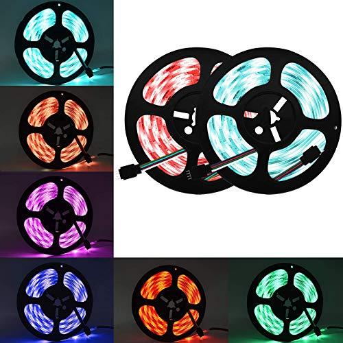 Wlife LED Strip, 10M Wasserdicht Streifen, 300 SMD 5050 LED RGB Strips, IP65 Wasserdicht flexibles Selbstklebend einstellbarer Farben LED Lichtband und 44 Tasten Fernbedienung, [Energieklasse A ++]