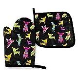 zsxaaasdf Guante de Horno aPotholder, Happy Chihuahua Oven Glove aPot Holder Mat Set, Guante de Horno avanzado Resistente al Calor, agarraderas con Textura Antideslizante