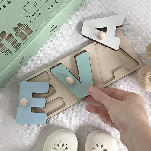Personalisierte Namens 3D Puzzle - Rätsel Spiele Pädagogisches Holzspielzeug für Baby Frühes Lernen Buchstabenform mit Pegs Geschenk Geburtstag