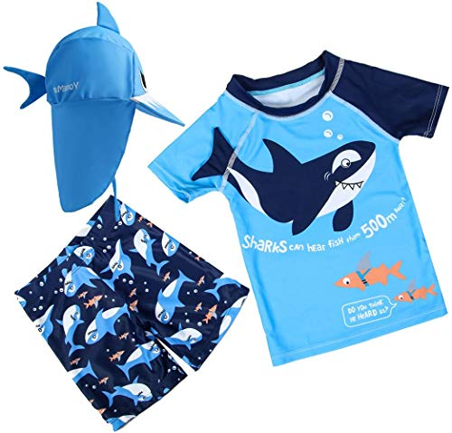 Baby Toddler Boys Two Piece Rash Guard Swimsuits Kids Short Sleeve Sunsuit Swimwear Sets with Hat UPF 50+ Blue Shark (2-3 Years)
