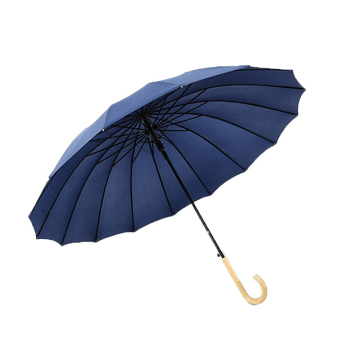 Windproof Long Handle Straight Umbrella,16 Ribs for Super-Strength - Extra Strong - Triple Layer Reinforced Frame with Fiberglass, Umbrella Auto Open (Color : Blue)