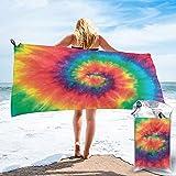 XCNGG Tie Dye Toalla de Playa de Secado rápido Microfibra Suave y Ligera...