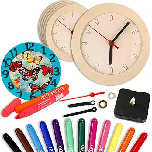 Kinder-Lern-Uhr aus Holz - 6 Stück zum Bemalen, 18-teiliges Set für Jungen und Mädchen, prima Beschäftigung für den Kindergeburtstag