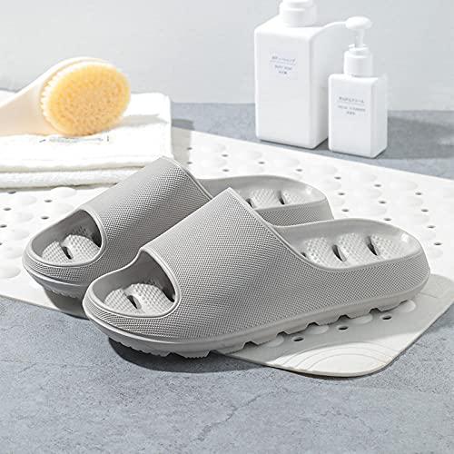 JFHZC Baño de Uso en el Interior Sandalia,Sandalias y Pantuflas Antideslizantes de Secado rápido con Fugas de Fondo Grueso, Deslizadores de baño desodorantes Huecos unisex-41-42EU_Gray