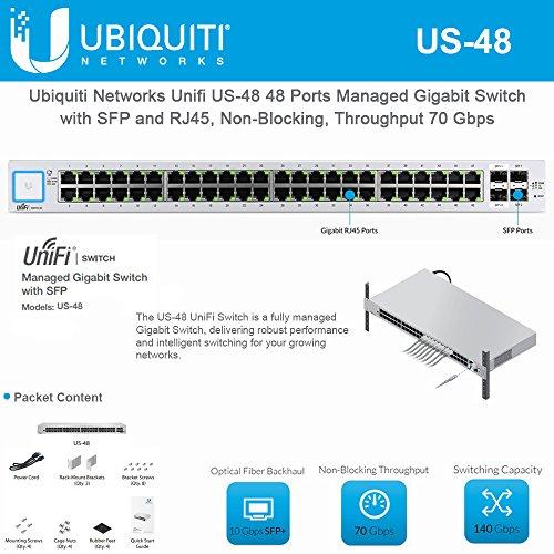 Ubiquiti Network Unifi US-48 48 Ports Managed Gigabit Switch with SFP and RJ45, Non-Blocking, Throughput 70 Gbps