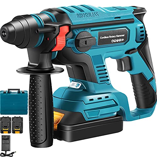 VEVOR SDS-Plus Heavy Duty Rotary Hammer Drill, 900 RPM & 450 BPM Variable Speed Electric Hammer, 4 Functions Cordless Drill w/LED Light & Ruler, 360? Rotary Handle 18V Batteriesx2 Demolition Hammer