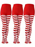 Sumind 3 Pairs Christmas Striped Tights Full Length Tights Thigh High Stocking for Christmas Halloween Costume Accessory (Red/White, Kids Size)