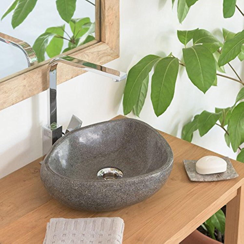 Wohnfreuden Naturstein - Waschbecken 30 cm Steinwaschbecken aus Stein oval