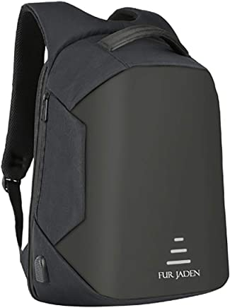 3c2c1b2886b Fur Jaden Black Anti Theft Backpack with USB Charging and Music Aux Wire  Extension