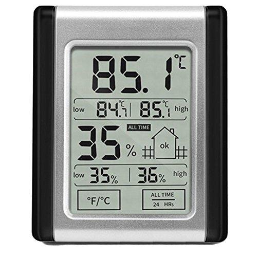 MansWill Elektronisches Hygrometer & Thermometer, Hoch-Niedrig Doppel-Display Touchscreen Digital Hygrothermograph, Nass-Trocken Komfort Wetterüberwachung Test-Tool für Den Innenbereich Hause