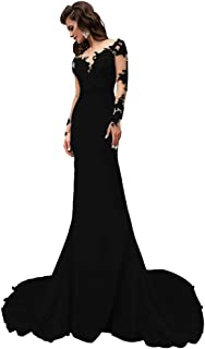 Mermiad Wedding Dress for Bride Long Sleeve Illusion Neck Sheer Bridal Prom Gown
