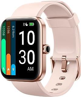 YAMAY Montre Connectée Femme avec Oxymetre Alexa intégré Smartwatch pour Android iOS Podometre Marche Cardiofrequencemetre Mode Natation Fond d'écran Personnalisé Gérer la Musique Météo Menstruel Rose