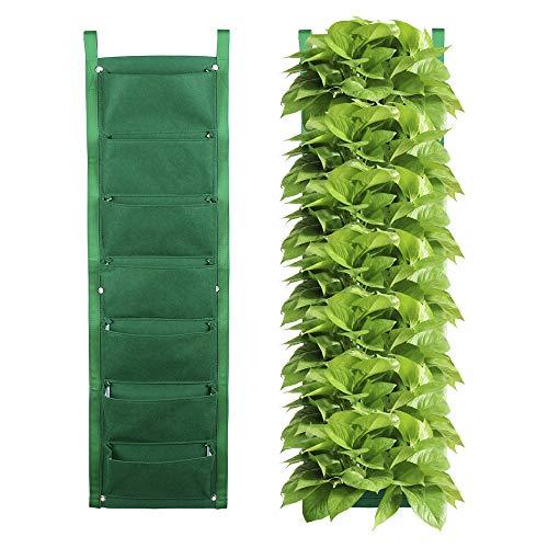 Jycrra, fioriera verticale da giardino, 7 tasche, in feltro, verde, da appendere alla parete, per la coltivazione di piante, per casa, giardino, balcone