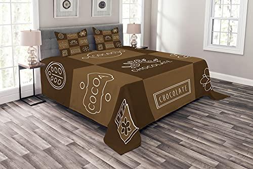 ABAKUHAUS Schokolade Tagesdecke Set, Kakao Schokolade, Set mit Kissenbezügen Weicher Stoff, 220 x 220 cm, Kakao Schokolade