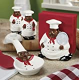 ACK African American, Black Happy Bistro Chef Hand Painted Ceramic Table Top Set, 89025/28