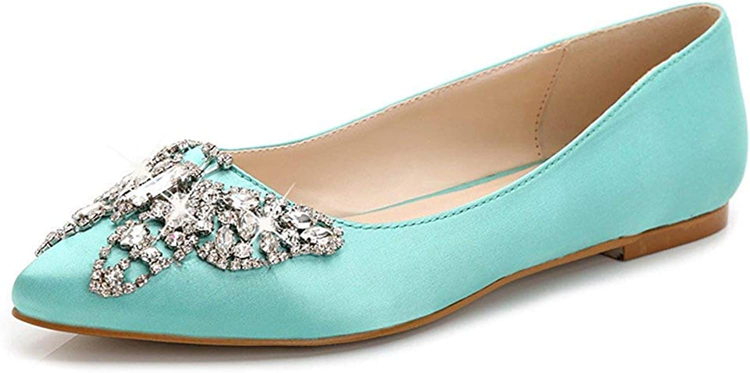 Unm Women's Comfy Fashion Rhinestone Low Out Wear to Work Office Pointed Toe Dress Slip On Flats shoes