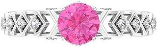 Anello di fidanzamento con zaffiro rosa, 6 mm, D-VSSI Moissanite, anello solitario con pietre laterali, anello di fidanzam...