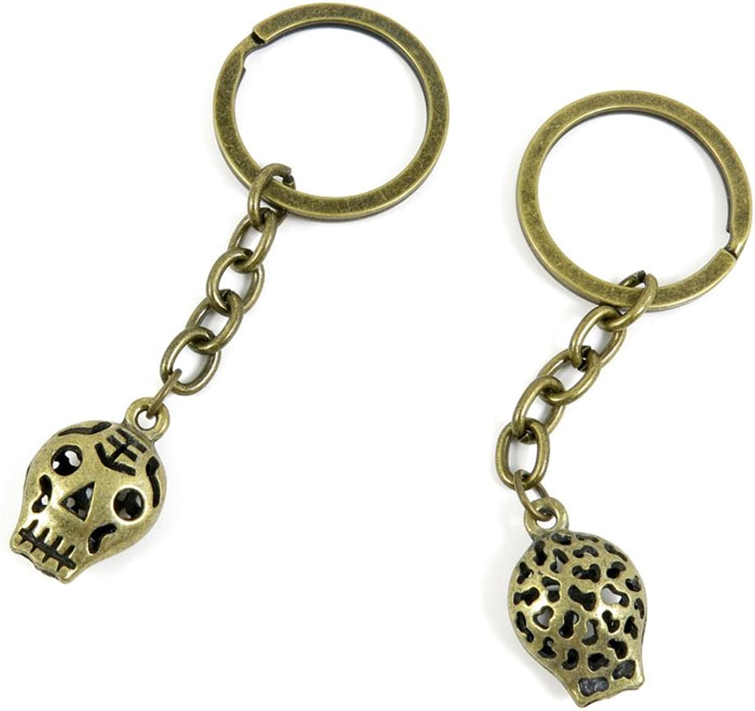 100 PCS Keyrings Keychains Key Ring Chains Tags Jewelry Findings Clasps Buckles Supplies W2VV4 Hollow Skull