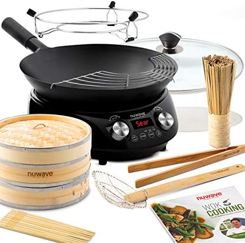 NUWAVE MOSAIC Induction Wok with 14 inch carbon steel wok with tempered glass lid precision product image