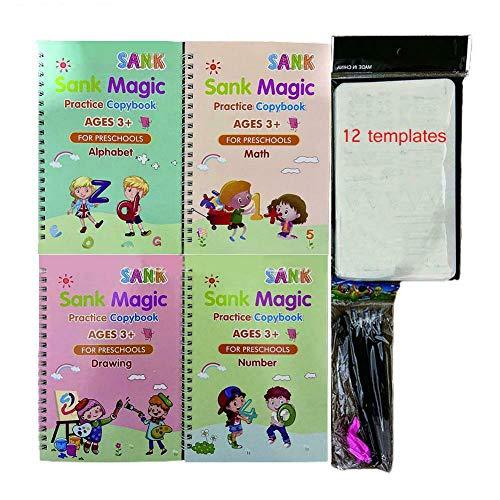 CYKJ Pegatinas de Escritura mágica Inglesa Infantil Ayuda a los niños Aprender Libros,B