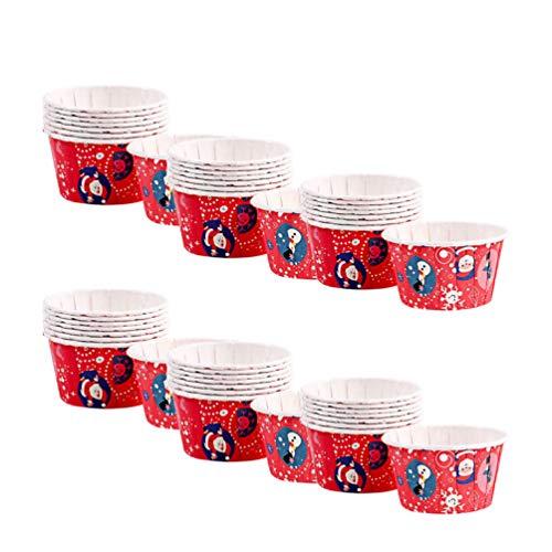 Hemoton 50 STÜCKE Weihnachten Crimped Cuffed Gefaltet Cupcake Pappbecher Einweg Kuchen Tasse Dessertschalen Partei Liefert zum Backen Hochzeit Geburtstag (Weihnachten Rot)