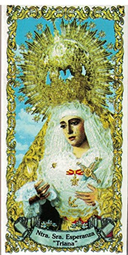 Virgen de la Esperanza de Triana de Sevilla. Azulejo fabricado artesanalmente para decorar. Cerámica para colgar. Calca cerámica (15x20 cms)