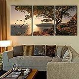QiXian Moderne Wohnzimmer Esszimmer Dekoration Malerei Stumm Uhr Leinwand Gemälde Triple Wanduhr Landschaft Serie Enthält Rahmen, Uhren und Gemälde, 3PCS, 28 * 40 cm