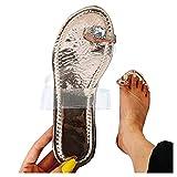 Aniywn Summer Women Rhinestone Flip Flops Jelly Thong Sandals Flat Beach Slippers Shoes Open Toe Slip On Sandal Gold