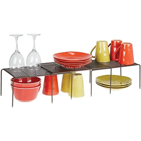 mDesign Juego de 3 estanterías metálicas para armarios de cocina – Práctica estantería de cocina para crear más espacio de almacenaje – Baldas de ...