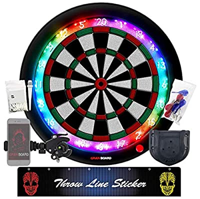 GRAN BOARD 3S Green Electronic Online Bluetooth Smart Dartboard for Adults & Game Room Package c/w -Bracket, Throw line Sticker, Smartphone Holder, Extra tip 50pcs & Standard Gran Dartboard Accessory