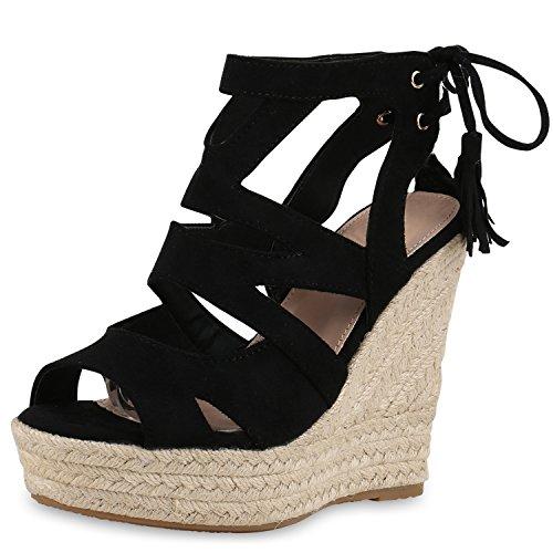 SCARPE VITA Damen Sandaletten Bast Keilabsatz Espadrilles Wedges Schuhe 160580 Schwarz Quasten 38