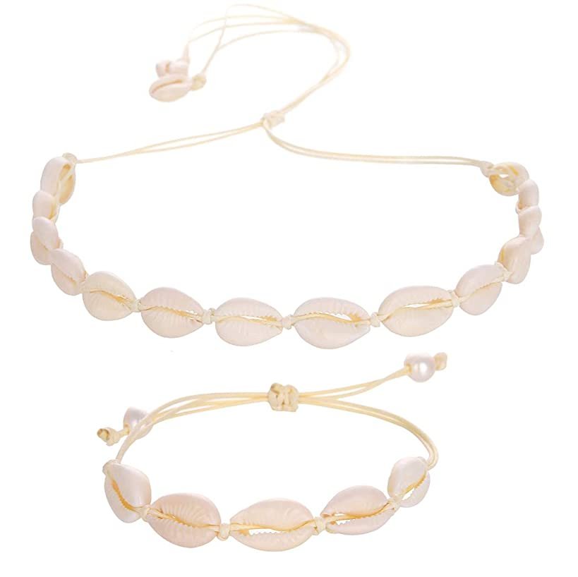Natural Shell Necklace and Bracelet Jewelry Set Adjustable with Pearl Boho Handmade Cowrie Shell Choker Necklace Adjustable Beach Conch Jewelry for Women and Girls Bohemia Style